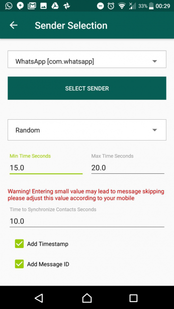 1. Configure setting and select the WhatsApp profile to auto rotate while sending messages and change the delay time.
