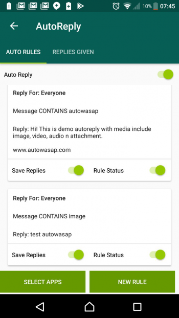 7. Can auto reply message in the event your prospect responds and can also auto save the prospect's reply number.